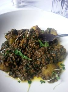 Lentils, spinach and spiced potatoes