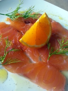 Whisky and orange cured salmon