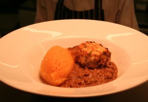 Mince with leek dumpling and peppery swede mash