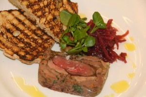 Ox tongue and wood pigeon terrine